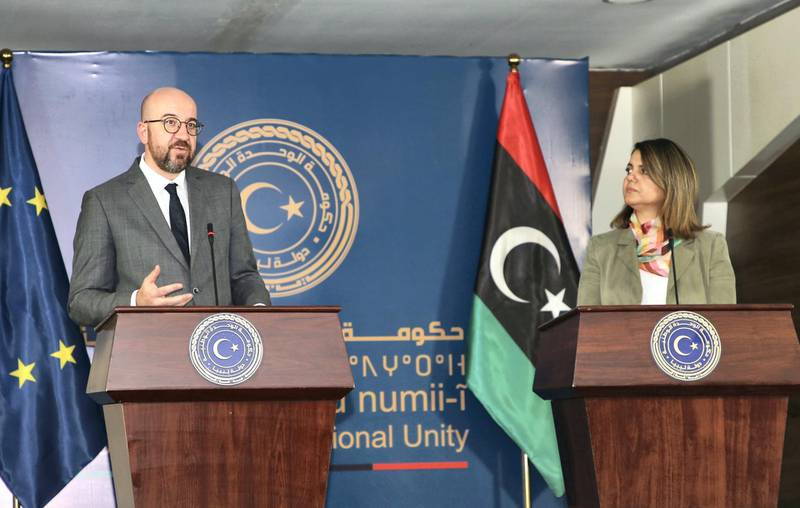 TRIPOLI, LIBYA - APRIL 04: President of the European Council Charles Michel (L) and Foreign Minister of Libyan Government of National Unity Najla Mohamed El-Mangoush (R) holds a joint press conference following their meeting with Prime Minister of Libyan Government of National Unity Abdul Hamid Dbeibeh (not seen) in Tripoli, Libya on April 04, 2021. (Photo by Hazem Turkia/Anadolu Agency via Getty Images)