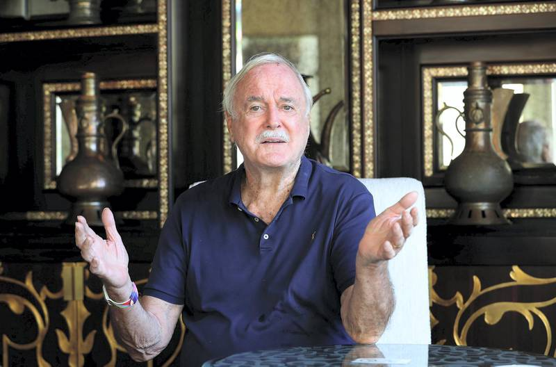 DUBAI , UNITED ARAB EMIRATES , December 6 – John Cleese, an English actor, comedian, screenwriter and producer giving different expression during the photoshoot at the One and Only Royal Mirage hotel in Dubai. ( Pawan Singh / The National ) For Arts & Culture/Online/Instagram. Story by Saeed