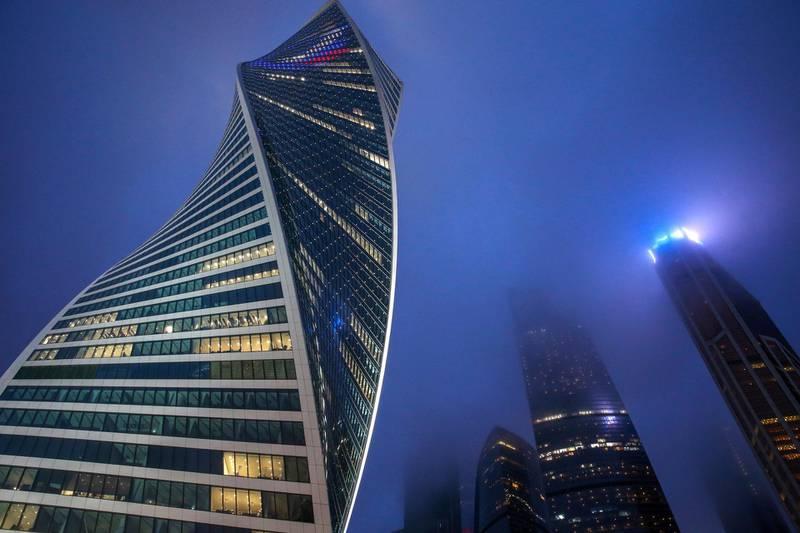 MOSCOW, RUSSIA - MARCH 29, 2019: The Evolution Tower of the Moskva City Moscow International Business Center. Vladimir Gerdo/TASS (Photo by Vladimir Gerdo\TASS via Getty Images)