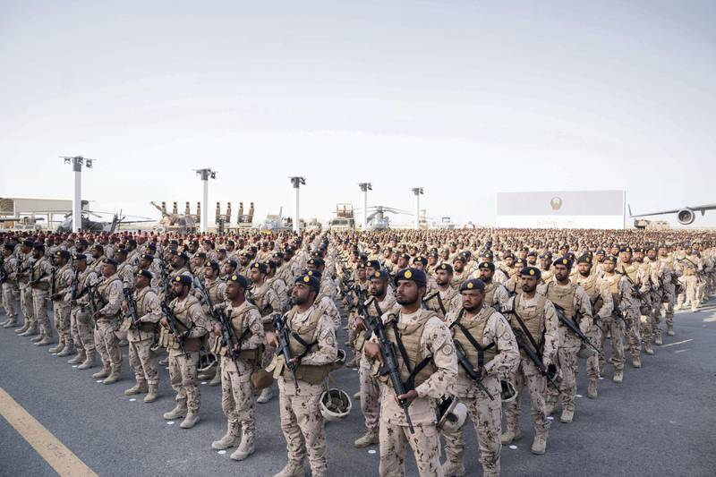 SWEIHAN, ABU DHABI, UNITED ARAB EMIRATES - February 09, 2020: Military personnel participate in a reception to celebrate and honor members of the UAE Armed Forces who served in the Arab coalition in Yemen, at Zayed Military City.   ( Hamad Al Kaabi / Ministry of Presidential Affairs ) ---