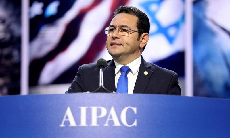 Guatemalan President Jimmy Morales speaks to the American Israel Public Affairs Committee AIPAC Policy Conference in Washington, DC, U.S. in this handout photograph released to Reuters by the Guatemala Presidency, March 4, 2018. Guatemala Presidency/Handout via REUTERS ATTENTION EDITORS - THIS IMAGE WAS PROVIDED BY A THIRD PARTY