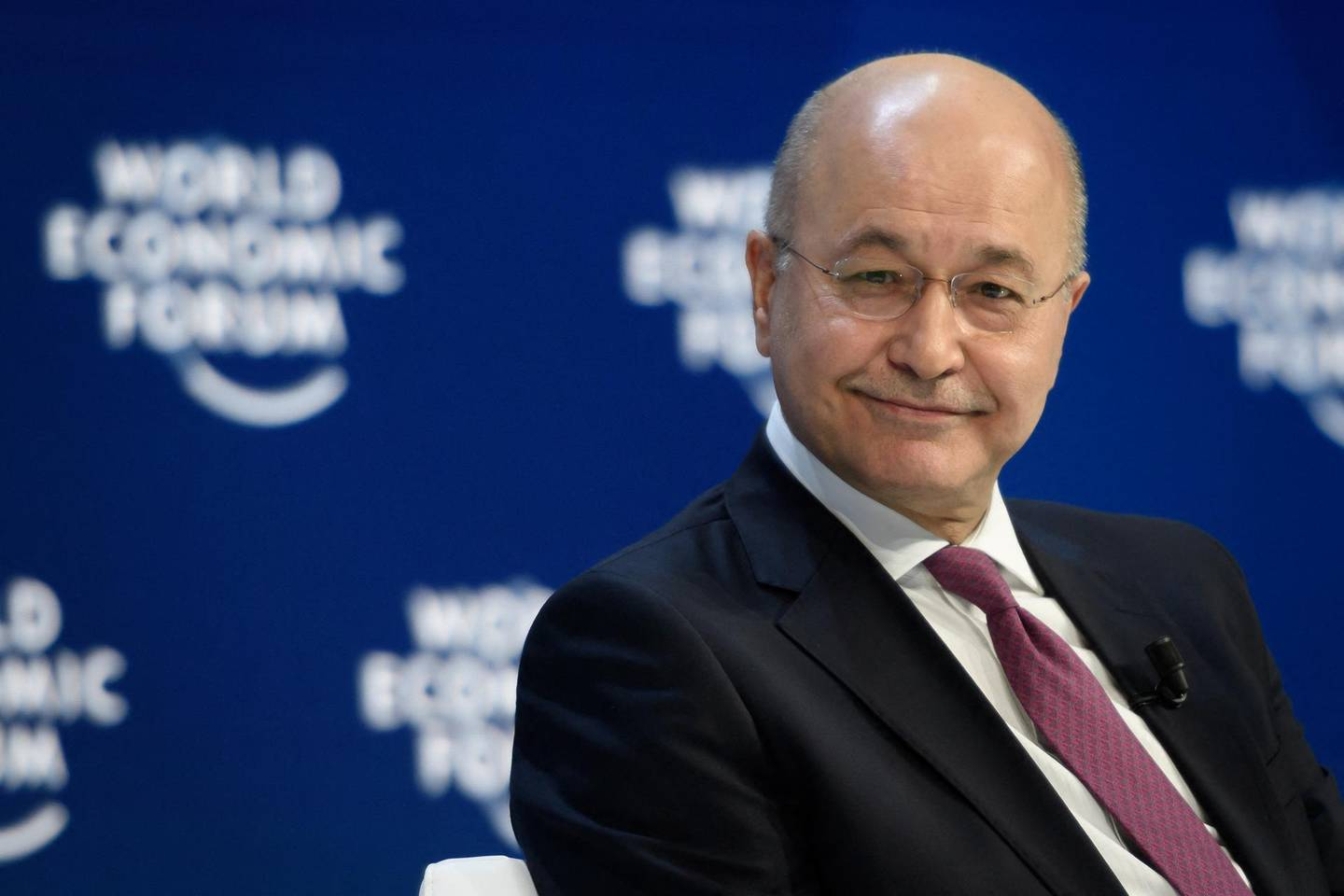 Iraqi President Barham Saleh attends a session at the World Economic Forum (WEF) annual meeting in Davos, on January 22, 2020. (Photo by Fabrice COFFRINI / AFP)