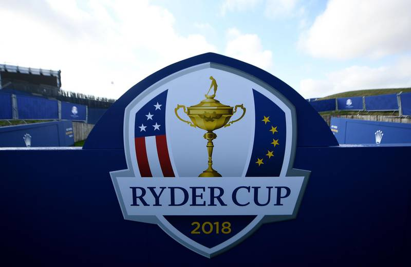 (FILES) In this file photo taken on September 19, 2018 the Ryder Cup logo is seen at the Golf National in Guyancourt, near Paris where the biennial men's golf competition, the Ryder Cup will take place in September with Thomas Bjørn set to lead Europe against Jim Furyk's United States.  The 2020 Ryder Cup will be postponed for a year because of the coronavirus pandemic, organisers said on July 8, 2020.  / AFP / FRANCK FIFE