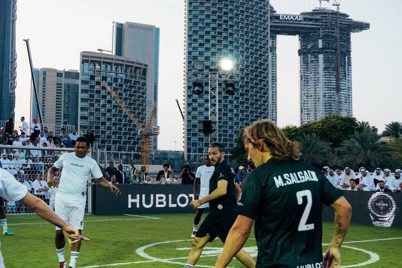15.04.18  Match of Friendship - Pele XI vs. a Marcello Lippi XI. From Left: Serginho, Zambrotta and M. salgado. Dubai Opera Garden, Dubai Opera, downtown Anna Nielsen For The National