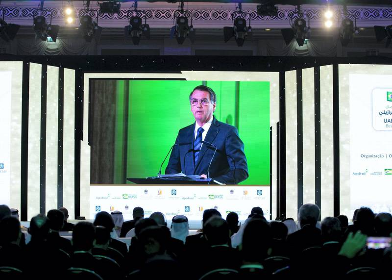 ABU DHABI, UNITED ARAB EMIRATES. 27 OCTOBER 2019. Jair Bolsonaro, President of Federative Republic of Brazil at UAE/Brazil Business Forum.(Photo: Reem Mohammed/The National)Reporter:Section: