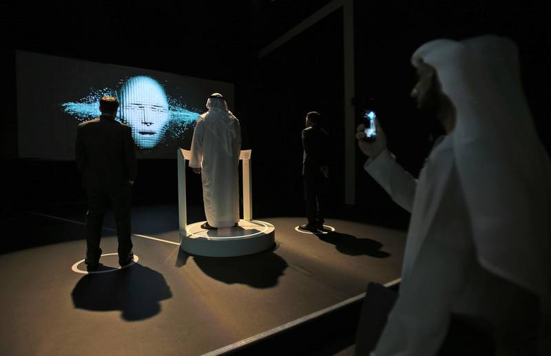 Governments staff from all over the world visit the Museum of the Future at the World Government Summit in Dubai, United Arab Emirates, Monday, Feb. 12, 2018. (AP Photo/Kamran Jebreili)