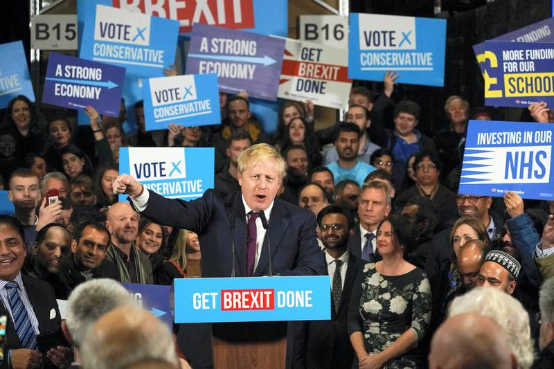 MANCHESTER, ENGLAND - DECEMBER 10: British Prime Minister Boris Johnson speaks to supporters at the Globus Group factory on December 10, 2019 in Manchester, England. The U.K. will go to the polls in a general election on December 12. (Photo by Christopher Furlong/Getty Images)