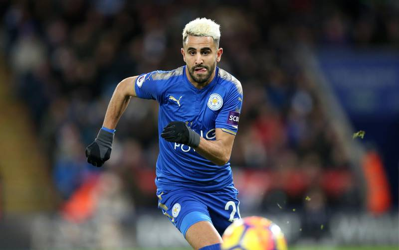 LEICESTER, ENGLAND - JANUARY 01: Riyad Mahrez of Leicester City during the Premier League match between Leicester City and Huddersfield at King Power Stadium on January 1st , 2018 in Leicester, United Kingdom.  (Photo by Plumb Images/Leicester City FC via Getty Images)