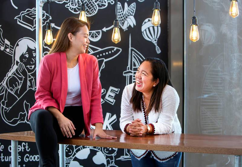 Spice & Grill in Al Majaz Sharjah, Cristine Caringal-Melad and Lourds Adalia-Evertse owners of Spice & Grill at their resto.