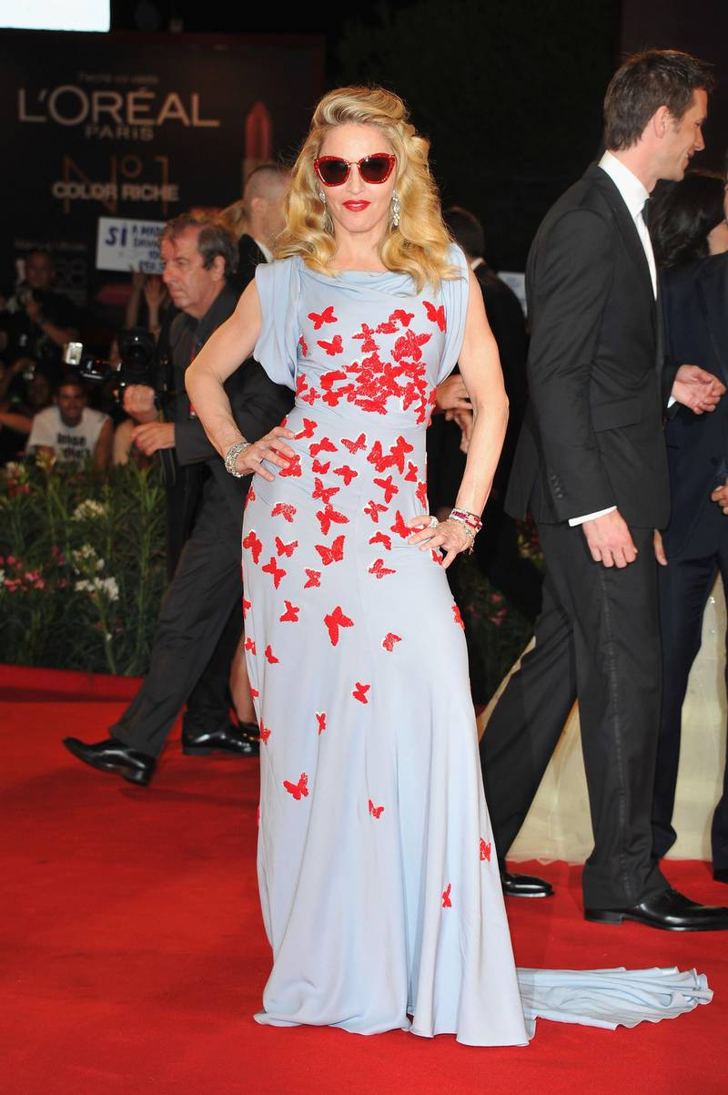 """VENICE, ITALY - SEPTEMBER 01:  Madonna attends the """"W.E."""" premiere at the Palazzo Del Cinema during the 68th Venice Film Festival on September 1, 2011 in Venice, Italy.  (Photo by Pascal Le Segretain/Getty Images)"""