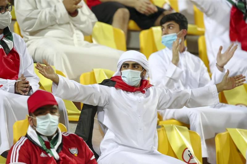 UAE fans before the game between the UAE and Vietnam in the World cup qualifiers at the Zabeel Stadium, Dubai on June 15th, 2021. Chris Whiteoak / The National.  Reporter: John McAuley for Sport