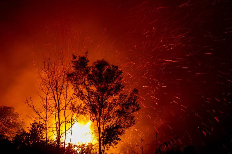 epa07865000 A fire burns through vegetation in Palangkaraya, Central Kalimantan, Indonesia, 23 September 2019 (issued 24 September 2019). Firefighters, military personnel and water-dropping helicopters have been deployed to combat the fires in Sumatra and Borneo that have caused thick haze in the neighboring countries, Singapore and Malaysia.  EPA/FULLY HANDOKO
