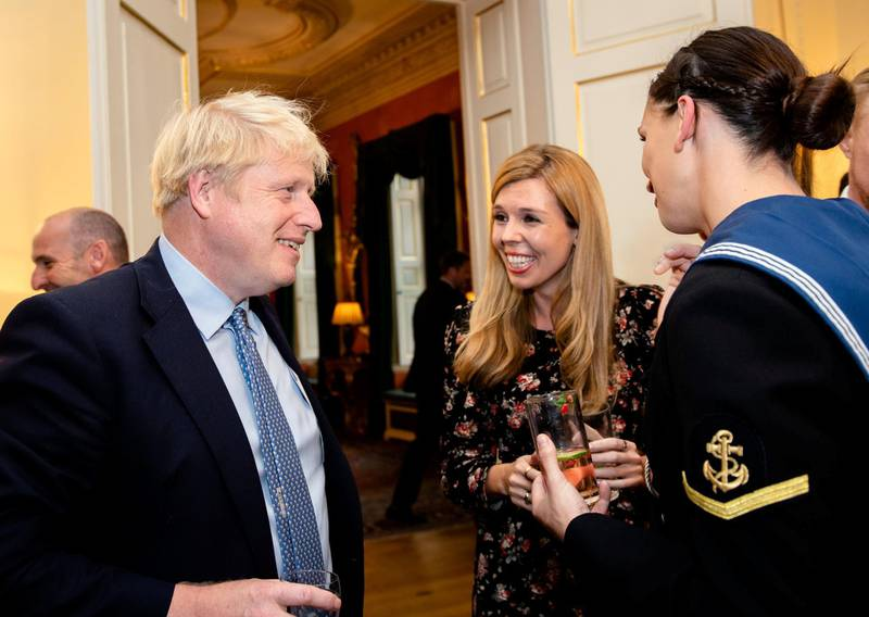 LONDON, ENGLAND - SEPTEMBER 18: Prime Minister Boris Johnson and Carrie Symonds host various members of the armed services at a military reception at 10 Downing Street on September 18, 2019 in London, England. (Photo by John Nguyen - WPA Pool/Getty Images)