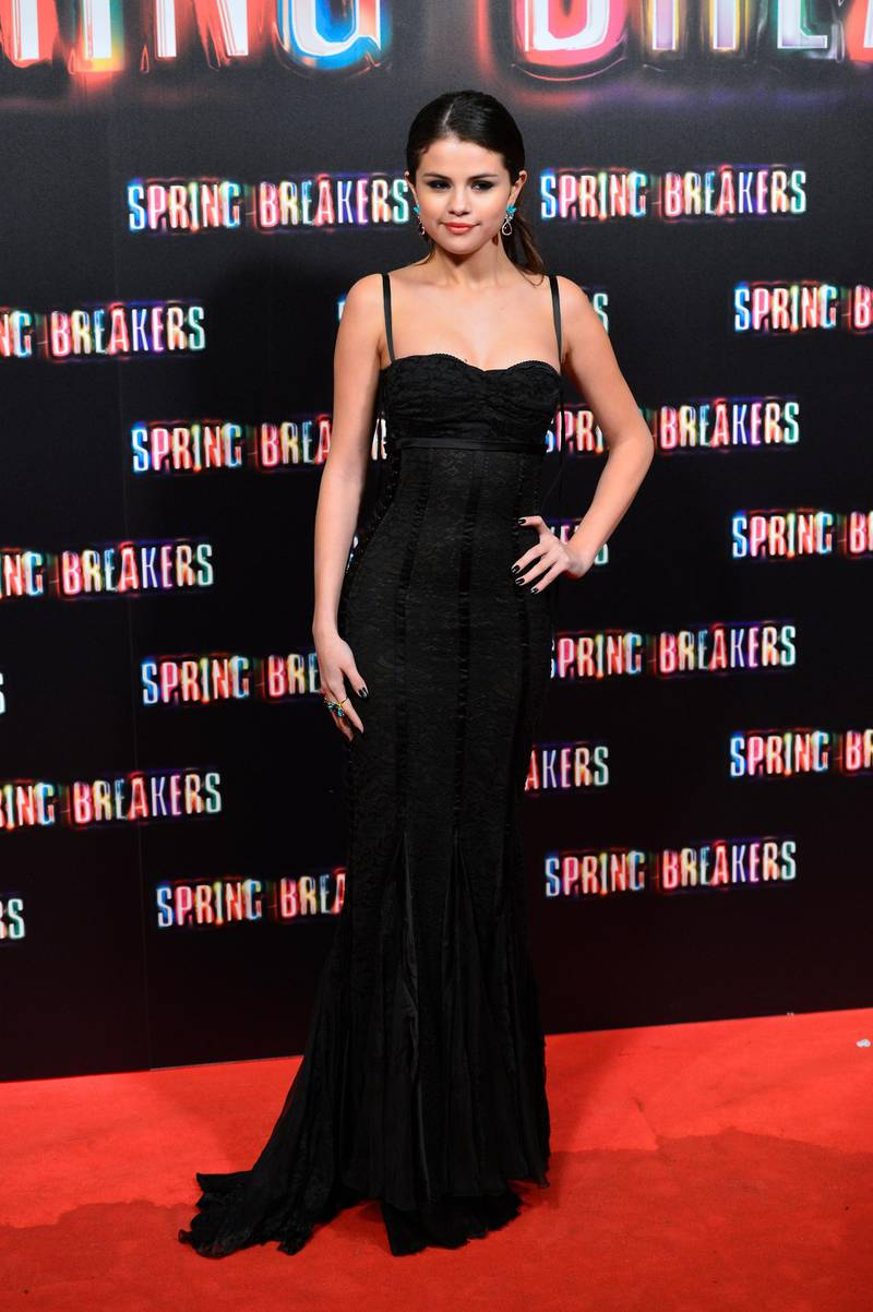 """MADRID, SPAIN - FEBRUARY 21:  Actress Selena Gomez attends the """"Spring Breakers"""" premiere at the Callao cinema on February 21, 2013 in Madrid, Spain.  (Photo by Carlos Alvarez/Getty Images)"""