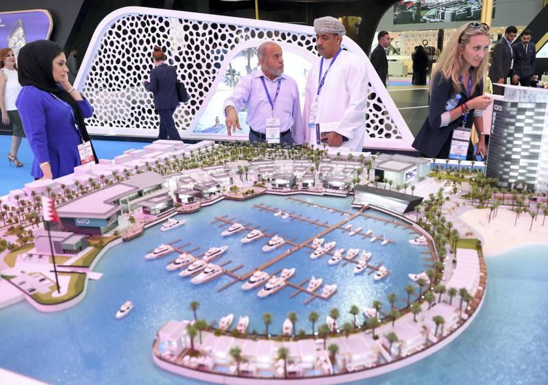 Dubai, United Arab Emirates - September 11th, 2017: Visitors at the Barain marina project at the 16th addition of Cityscape Global. Monday, September 11th, 2017 at World Trade centre, Dubai.