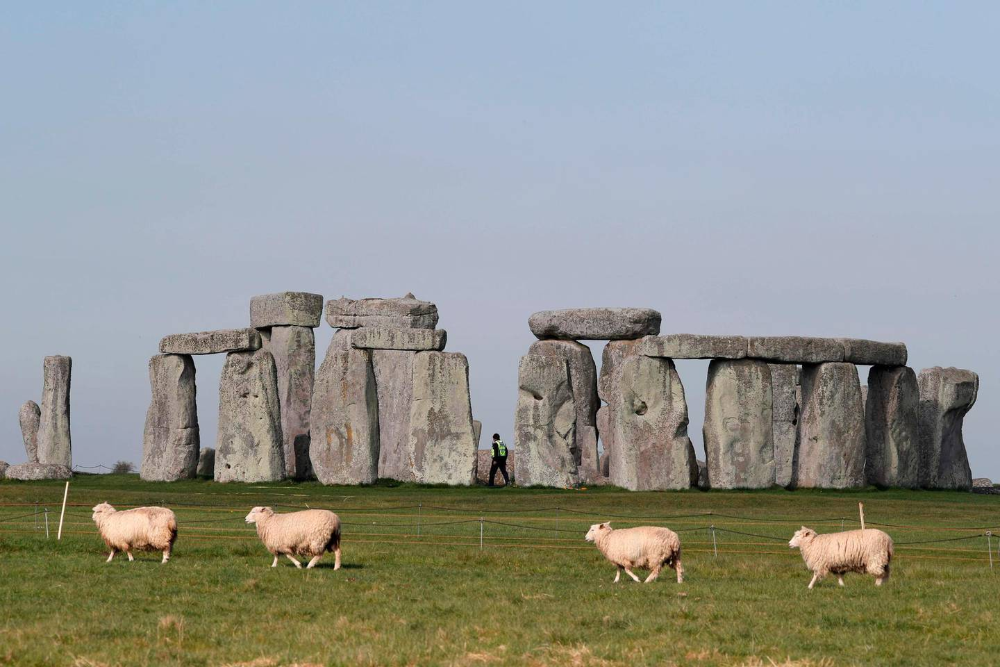 (FILES) In this file photo sheep graze as security guards patrol the prehistoric monument at Stonehenge in southern England, on April 26, 2020, closed during the national lockdown due to the novel coronavirus COVID-19 pandemic.  Stonehenge, a Neolithic wonder in southern England, has vexed historians and archaeologists for centuries with its many mysteries: How was it built? What purpose did it serve? Where did its towering sandstone boulders come from? The answer to the last question may finally have an answer after a study published July 29, 2020 found that most of the giant stones -- known as sarsens -- seem to share a common origin 25 kilometers (16 miles) away in West Woods, an area that teemed with prehistoric activity.   / AFP / Adrian DENNIS