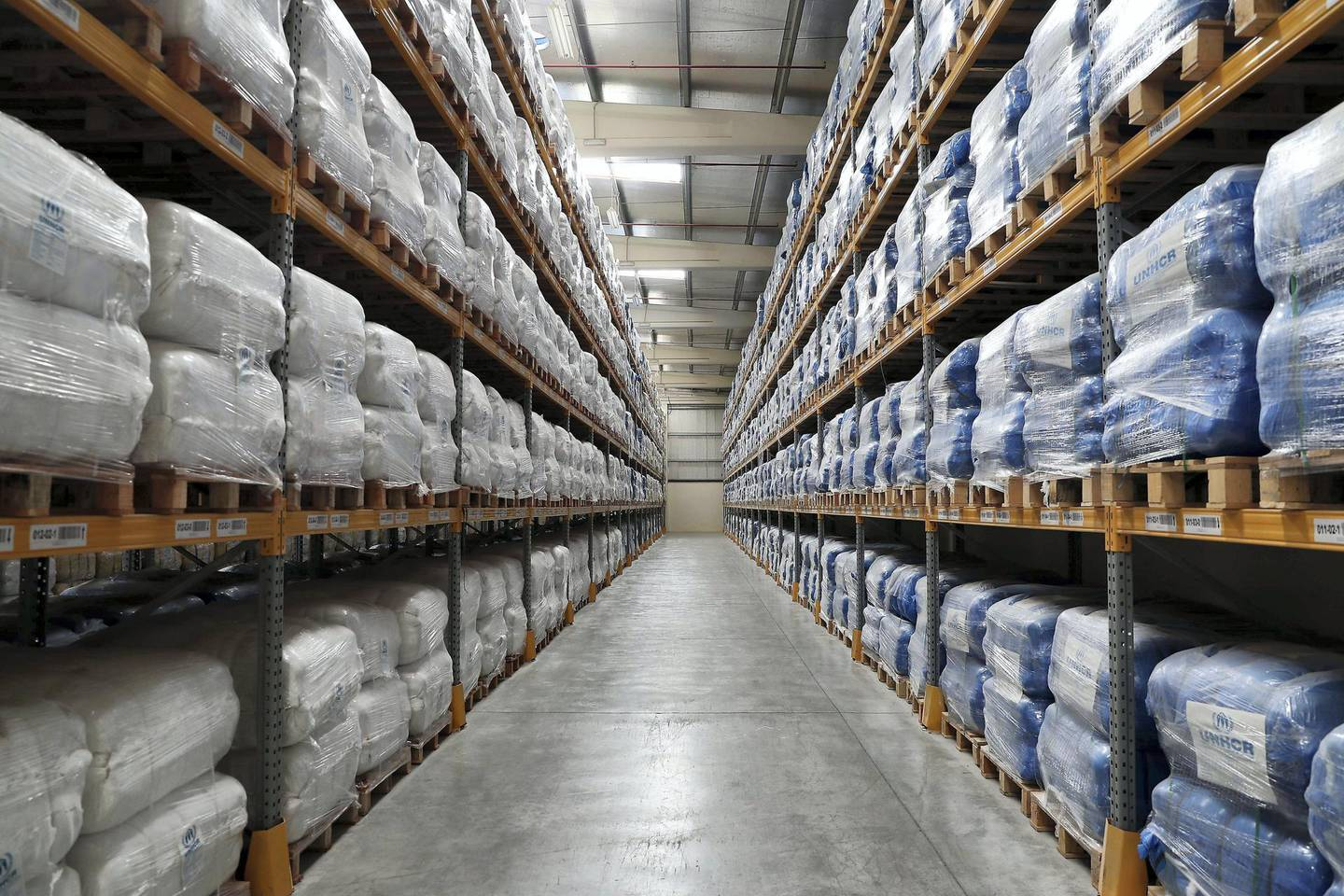 DUBAI, UNITED ARAB EMIRATES , Jan 29  – 2020 :- Blankets stored at the UNHCR warehouse at the International Humanitarian City in Dubai. ( Pawan  Singh / The National ) For News. Story by Kelly