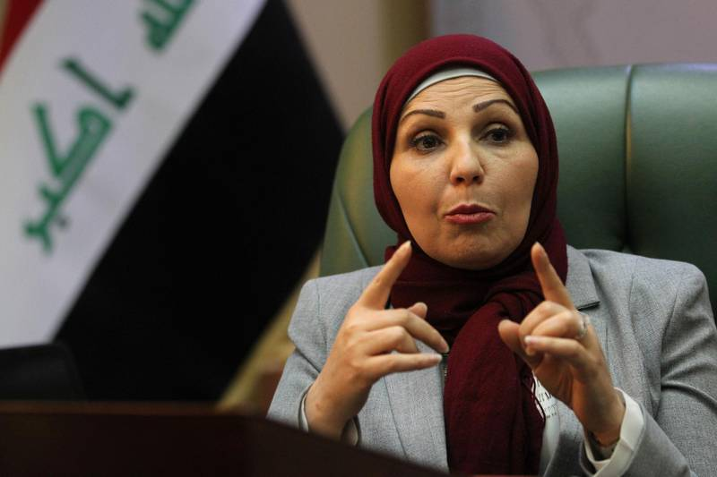 Baghdad Mayor Thikra Alwash, 60-year-old civil engineer and only woman mayor of a Middle East capital, speaks during an interview with AFP in the Iraqi capital on January 29, 2018. Thikra wants to revive her war-torn city, fix its decrepit infrastructure and twin it with Paris -- another female-led metropolis. / AFP PHOTO / AHMAD AL-RUBAYE