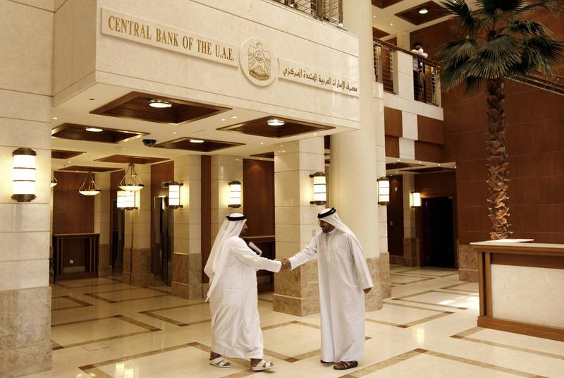 ABU DHABI, UNITED ARAB EMIRATES - May 20, 2009: The front lobby of the Central Bank of the United Arab Emirates. ( Ryan Carter / The National ) *** Local Caption ***  RC006-CentralBank.JPGRC006-CentralBank.JPGRC006-CentralBank.JPG