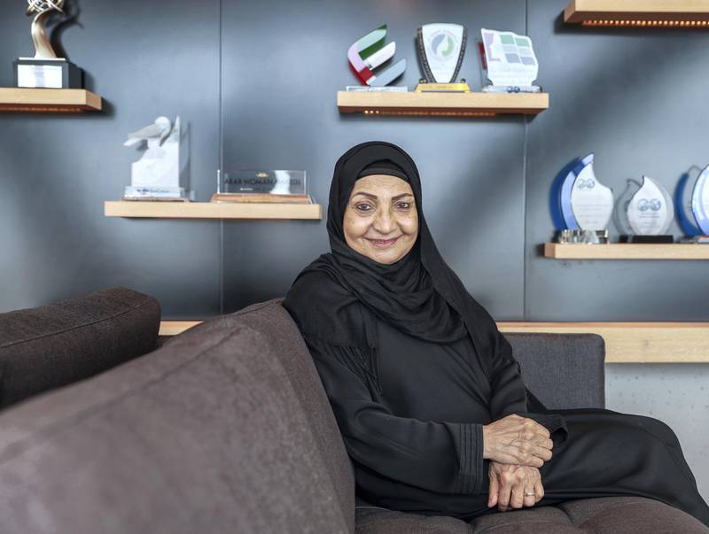 Abu Dhabi, UAE.  May 9, 2018. Inrterview with businesswoman Sheikha Al Maskari - she is stepping down from her position to retire and focus on philanthropy. Environmental portrait shoot in her offices, Capital Gate Victor Besa / The NationalNationalReporter:  Nick March