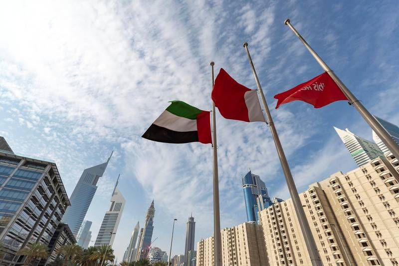 Dubai, United Arab Emirates - November 19, 2019: Flags are at half mast at the World trade centre after the passing of Sheikh Sultan bin Zayed bin Sultan Al Nahyan, the President's Representative. Tuesday the 19th of November 2019. World Trade Centre, Abu Dhabi. Chris Whiteoak / The National