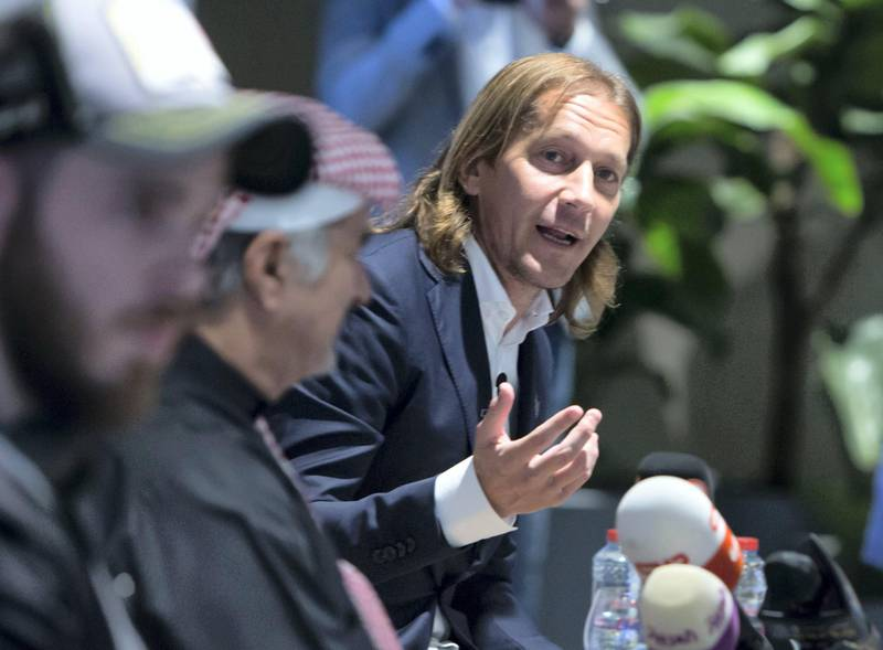 Dubai, United Arab Emirates - Michel Salgado speaking at the Manchester United goalkeeper press conference at the Government of Dubai Media Office.  Leslie Pableo for The National