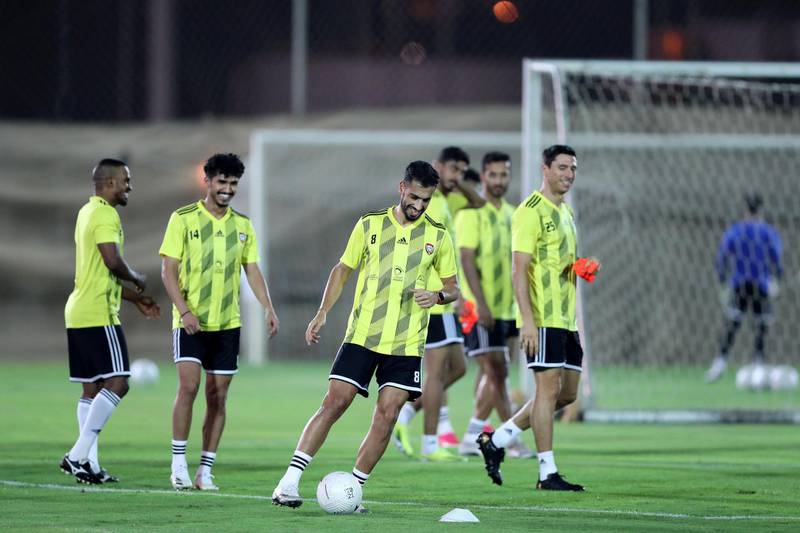 UAE's Majed Hassan during training before the game between the UAE and Vietnam in the World cup qualifiers at the Zabeel Stadium, Dubai on June 14th, 2021. Chris Whiteoak / The National.  Reporter: John McAuley for Sport