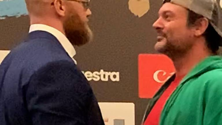 An image that illustrates this article 'The Mounain' and Larratt trash-talk before Dubai boxing match