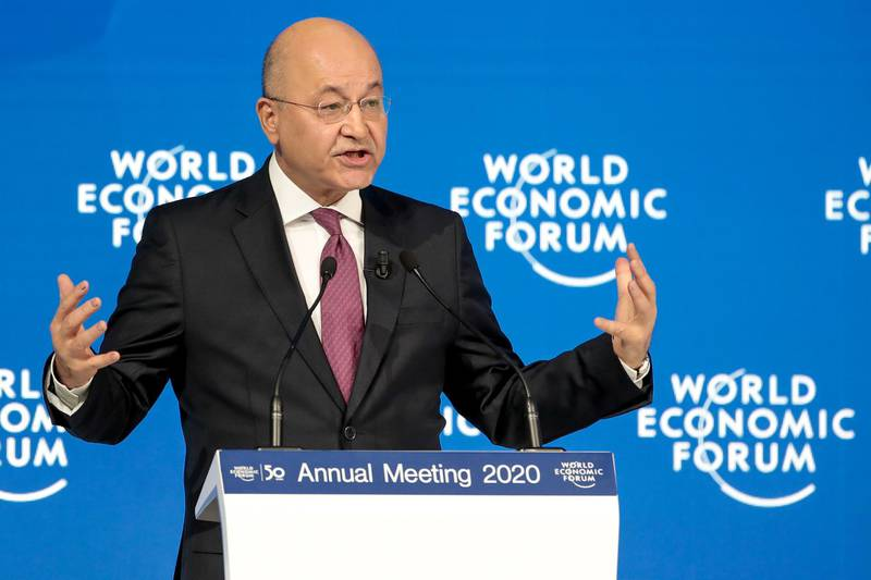 Barham Salih, Iraq's president, delivers a speech during a special address on day two of the World Economic Forum (WEF) in Davos, Switzerland, on Wednesday, Jan. 22, 2020. World leaders, influential executives, bankers and policy makers attend the 50th annual meeting of the World Economic Forum in Davos from Jan. 21 - 24. Photographer: Jason Alden/Bloomberg