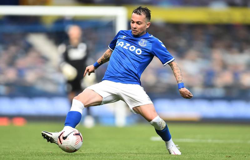LIVERPOOL, ENGLAND - SEPTEMBER 05: Bernard of Everton in action during the pre-season friendly match between Everton and Preston North End at Goodison Park on September 05, 2020 in Liverpool, England. (Photo by Nathan Stirk/Getty Images)