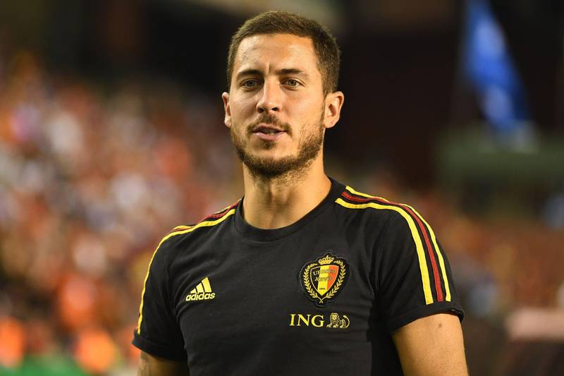 Belgium's forward Eden Hazard looks on during the international friendly football match between Belgium and Egypt at the King Baudouin Stadium, in Brussels, on June 6, 2018. / AFP / EMMANUEL DUNAND