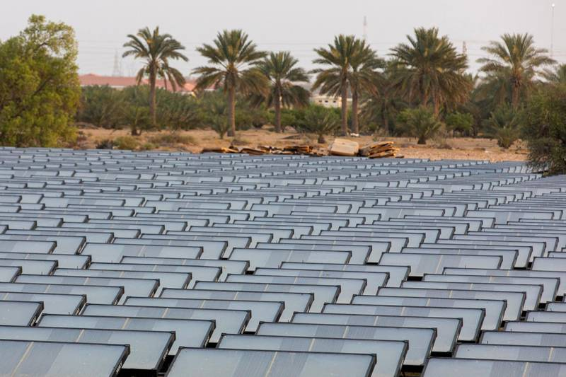Hydropanels, produced by Zero Mass Water Inc., stand at the planned site of the IBV drinking water plant in Lehbab, Dubai, United Arab Emirates, on Wednesday, July 8, 2020. Zero Mass Water Inc., an Arizona-based water technology company, thinks the lack of rivers or even seawater isn't a problem because it has technology that can extract moisture from the atmosphere using energy from the sun. Photographer: Christopher Pike/Bloomberg