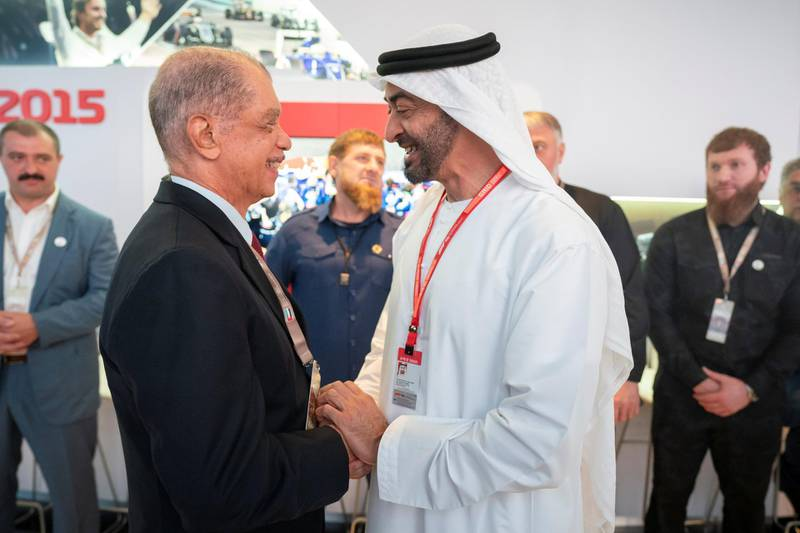 YAS ISLAND, ABU DHABI, UNITED ARAB EMIRATES - December 01, 2019: HH Sheikh Mohamed bin Zayed Al Nahyan, Crown Prince of Abu Dhabi and Deputy Supreme Commander of the UAE Armed Forces (R), greets HE James Alix Michel, former President of Seychelles (L) at Shams Tower during the Formula 1 2019 Etihad Airways Abu Dhabi Grand Prix at Yas Marina Circuit.   ( Hamad Al Kaabi  / Ministry of Presidential Affairs ) ---