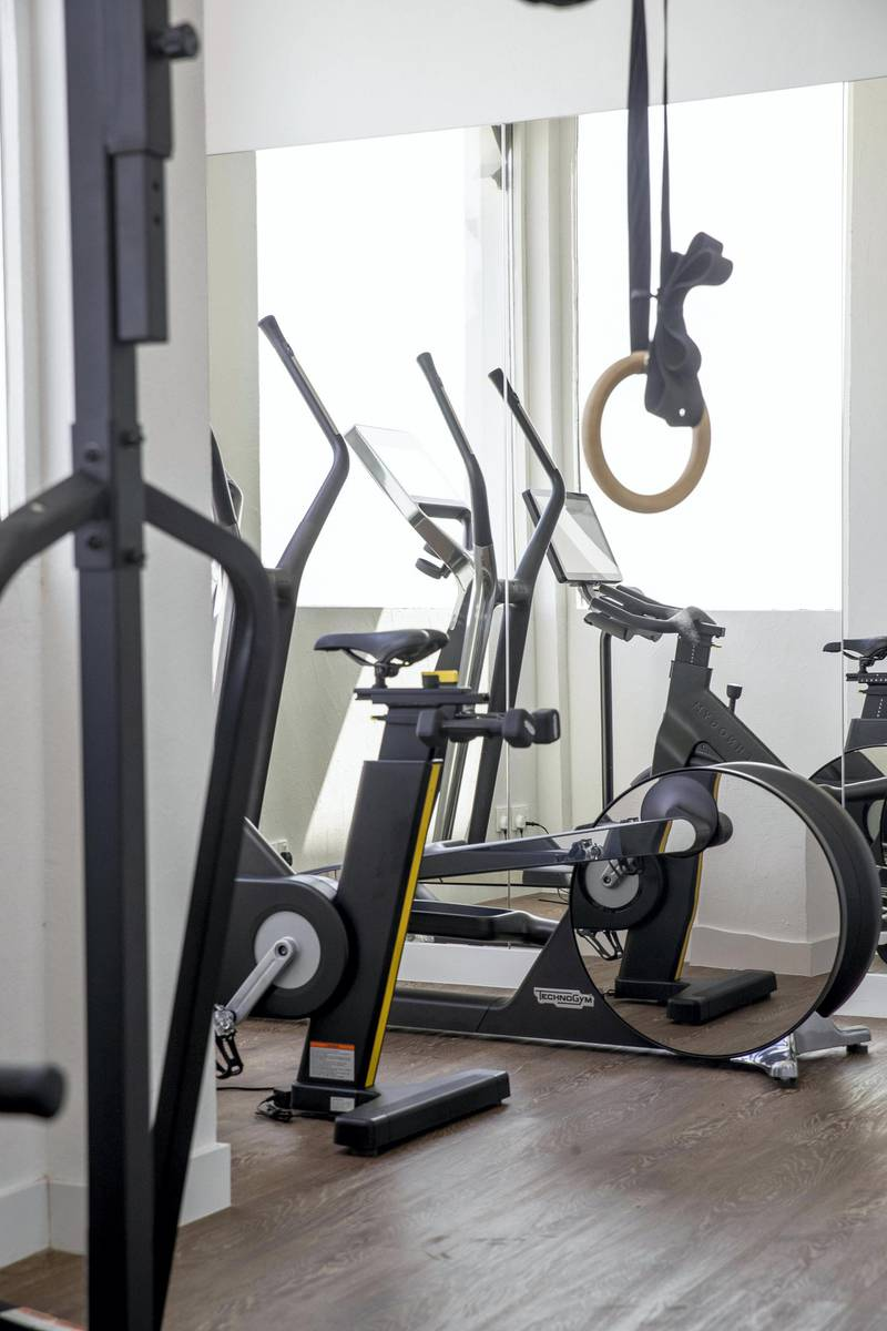 DUBAI, UNITED ARAB EMIRATES. 24 OCTOBER 2020. Halim Shehadeh's private gym in his home on the Palm in Dubai. (Photo: Antonie Robertson/The National) Journalist: David. Section: Luxury.