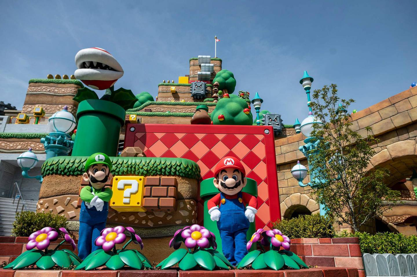 In this picture taken on March 17, 2021, shows a general view of the Super Nintendo World during a media preview at Universal Studios Japan in Osaka. / AFP / Philip FONG