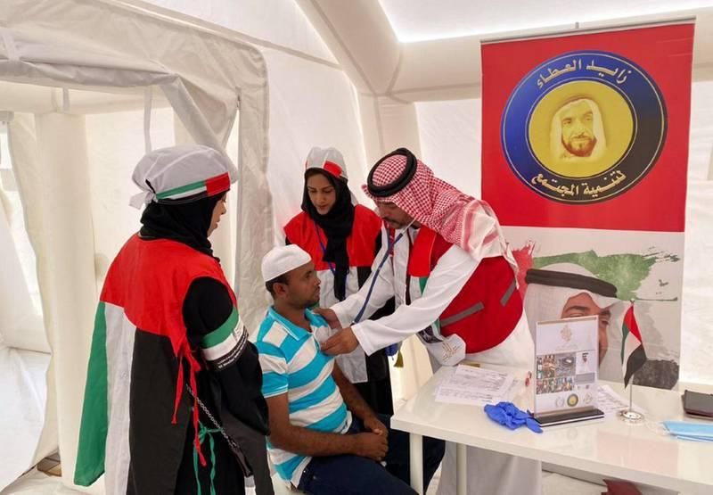 Sheikha Fatima's volunteer program launches the field hospital to treat workers in Ras al-Khaimah. WAM