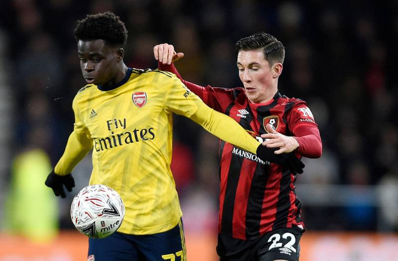 epa08170887 Bukayo Saka (L) of Arsenal in action against Harry Wilson of Bournemouth during the English FA Cup fourth round match between Bournemouth and Arsenal London in Bournemouth, Britain, 27 January 2020.  EPA/Gerry Penny EDITORIAL USE ONLY. No use with unauthorized audio, video, data, fixture lists, club/league logos or 'live' services. Online in-match use limited to 120 images, no video emulation. No use in betting, games or single club/league/player publications