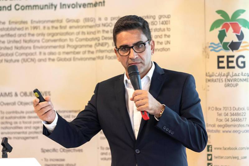 """DUBAI, UNITED ARAB EMIRATES. 29 AUGUST 2018. The 4th panel discussion organised by the Emirates Environmental Group (EEG), in cooperation with the Arabia CSR Network (ACSRN), the Emirates Green Building Council (EGBC), Clean Energy Business Council (CEBC), and in association with the United Nations Environment Programme (UNEP), on the topic of """"Circular Economy: Bringing Waste Full Circle"""". Speaker: Dr Sassan Khatib-Shahidi (Co-Founder and CEO German Imaging Technologies). (Photo: Antonie Robertson/The National) Journalist: Patrick Ryan. Section: National."""