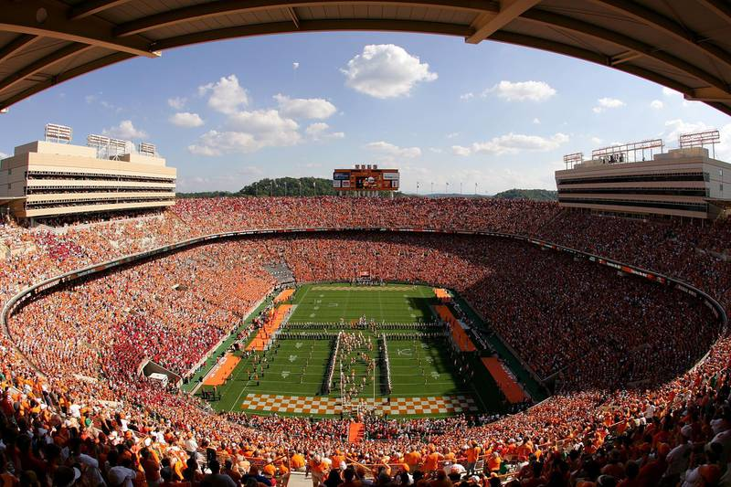 KNOXVILLE, TN - OCTOBER 06:  A general view of the Tennessee Volunteers taking the field before the start of their game against the Georgia Bulldogs at Neyland Stadium on October 6, 2007 in Knoxville, Tennessee.  (Photo by Streeter Lecka/Getty Images)
