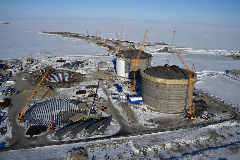 (FILES) This file photo taken on April 16, 2015 shows natural gas reservoirs under construction at the port of Sabetta in the Kara Sea shore line on the Yamal Peninsula in the Arctic circle, some 2450 km of Moscow. Russia on December 05, 2017 launched the first terminal for liquefied natural gas project, Yamal LNG, in the Russian Arctic, Russian gas producer Novatek said. / AFP PHOTO / KIRILL KUDRYAVTSEV