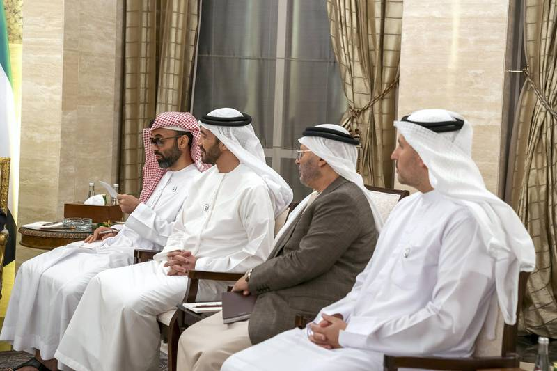 ABU DHABI, UNITED ARAB EMIRATES - January 12, 2019:  HE Khaldoon Khalifa Al Mubarak, CEO and Managing Director Mubadala, Chairman of the Abu Dhabi Executive Affairs Authority and Abu Dhabi Executive Council Member (R), HE Dr Anwar bin Mohamed Gargash, UAE Minister of State for Foreign Affairs (2nd R), HH Sheikh Abdullah bin Zayed Al Nahyan, UAE Minister of Foreign Affairs and International Cooperation (3rd R) and HH Sheikh Tahnoon bin Zayed Al Nahyan, UAE National Security Advisor (4th R), attend a meeting with Michael Pompeo, US Secretary of State (not shown), at Al Shati Palace.  ( Mohamed Al Hammadi / Ministry of Presidential Affairs ) ---