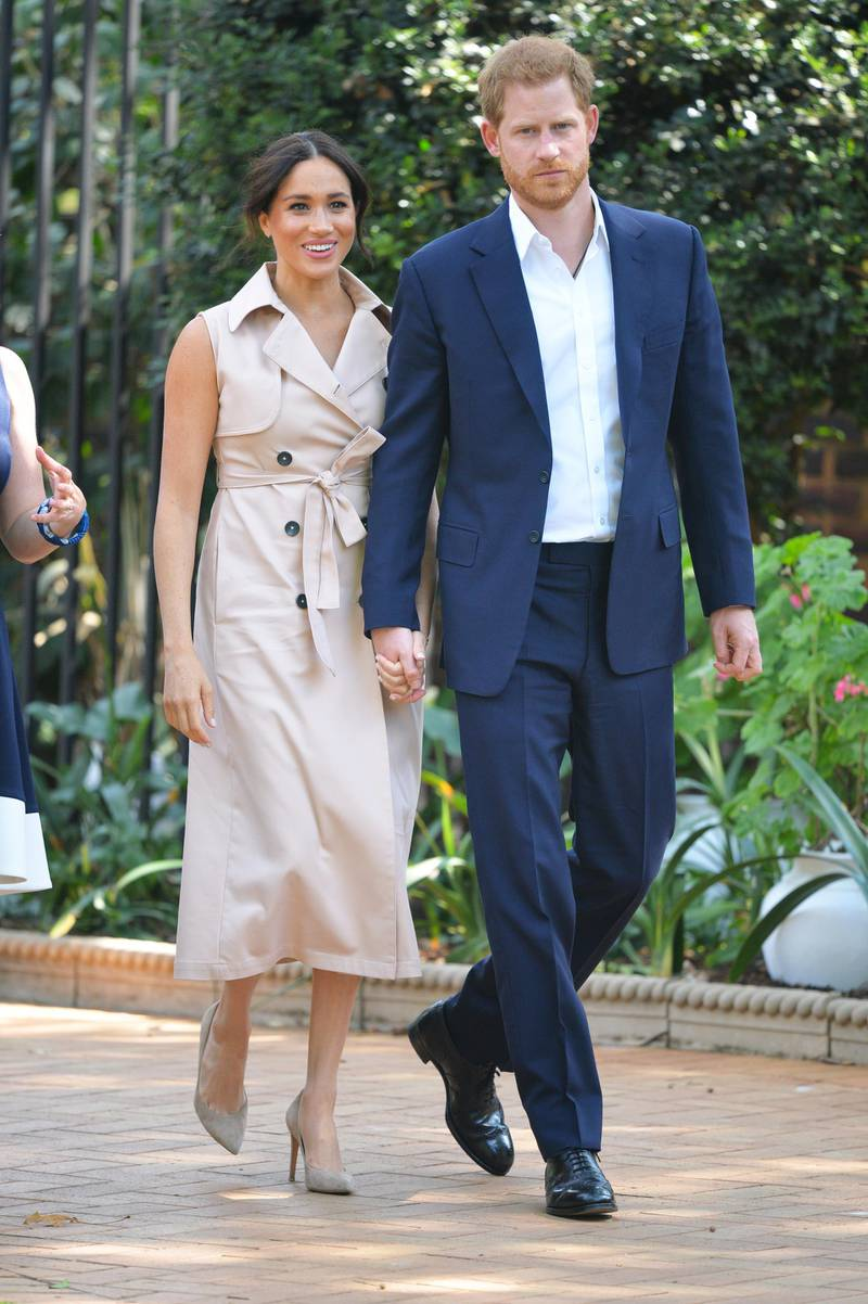 JOHANNESBURG, SOUTH AFRICA - OCTOBER 02: Prince Harry, Duke of Sussex and Meghan, Duchess of Sussex arrive at the Creative Industries and Business Reception at the British High Commissioners residence to meet with representatives of the British and South African business communities, including local youth entrepreneurs, on day ten of their tour in Africa on October 2, 2019 in Johannesburg, South Africa. (Photo by Dominic Lipinski - Pool/Getty Images)