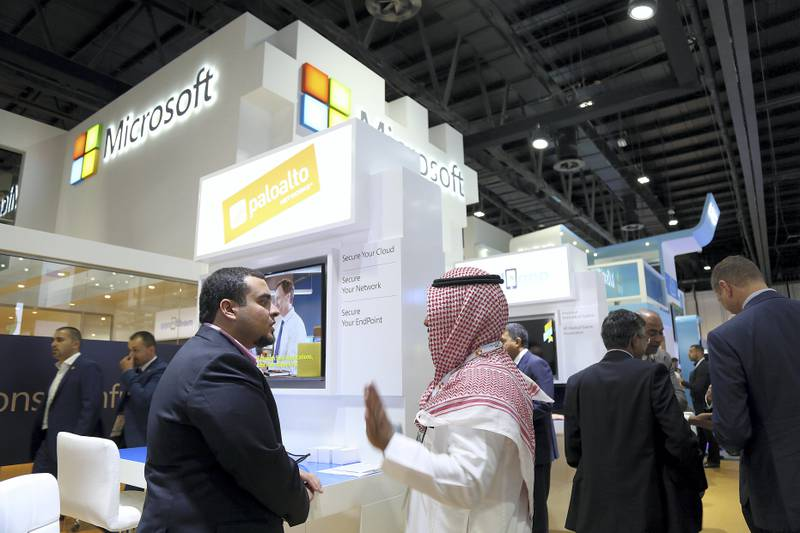 Dubai, 08, Oct, 2017 : Visitors browse the Microsoft stands  during the  37th Gitex Technology Week at the World Trade Centre in Dubai. Satish Kumar / For the National
