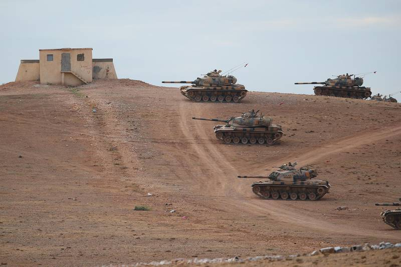 SANLIURFA, TURKEY - SEPTEMBER 29:  (TURKEY OUT) Turkish Armed Forces dispatch tanks to the Turkish - Syrian border as clashes intensified with Islamic State of Iraq and Levant (ISIL) militants on September 29, 2014 in Suruc district of Sanliurfa, southeastern province of Turkey. Islamic State (IS, also called ISIS and ISIL) fighters are reportedly advancing with heavy weaponry on the strategic Kurdish border town of Kobani (also called Ayn Al-Arab). Several hundred thousand refugees are reportedly in Kobani and aid agencies are bracing for a massive exodus into Turkey. (Photo by Getty Images)