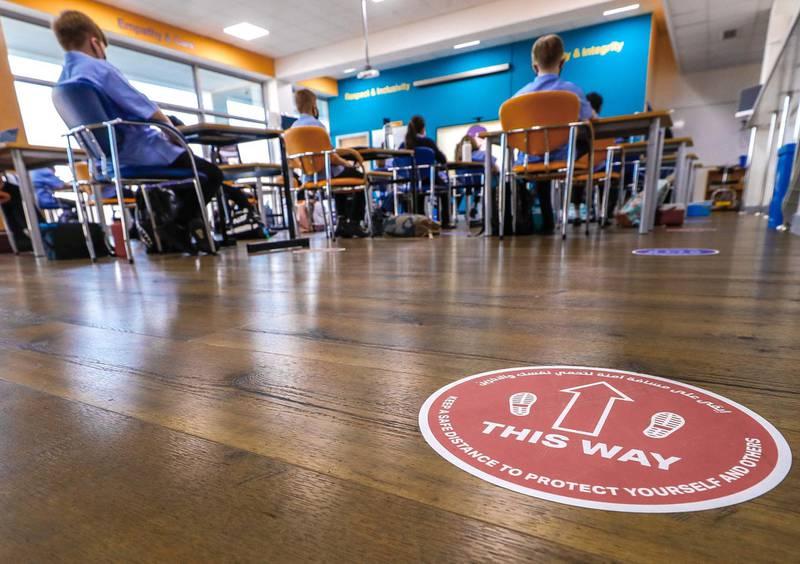 Abu Dhabi, United Arab Emirates, February 16, 2021.  Pupils return to school on Sunday at British School Al Khubairat.  Pupils listen to an awareness video on Covid-19 in class.Victor Besa/The NationalReporter:  Haneen DajaniSection:  NA
