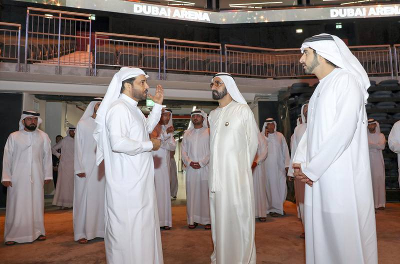 Mohammed bin Rashid visits Dubai Arena and learns about the first covered pavilion in the region. WAM