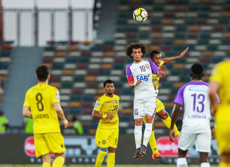 Abu Dhabi, UAE.  May 3, 2018.   President's Cup Final, Al Ain FC VS. Al Wasl.  Omar Abdulrahman heads the ball.Victor Besa / The NationalSportsReporter: John McAuley
