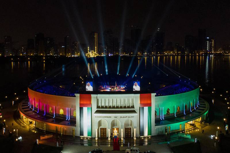 The 49th National Day show is held at Al Majaz Amphitheatre in Sharjah, December 3. Wam