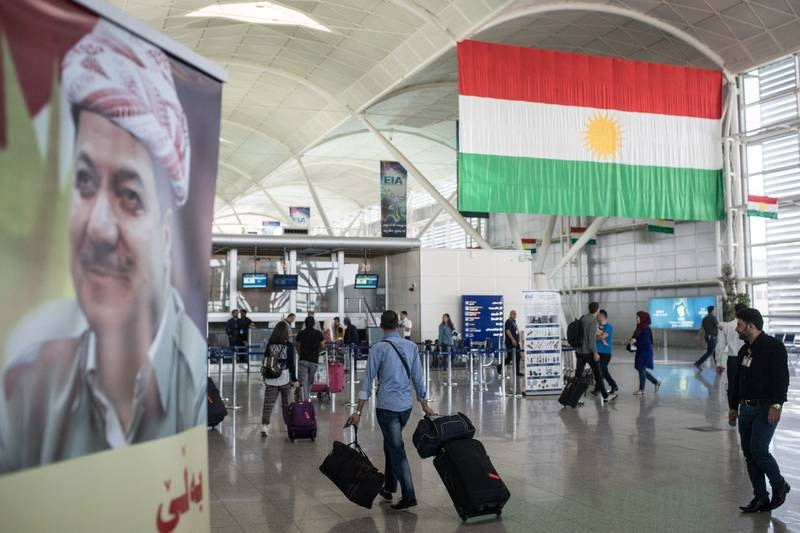 ERBIL, IRAQ - SEPTEMBER 27: People are seen inside Erbil International Airport on September 27, 2017 in Erbil, Iraq. In reaction to Kurdish leaders holding the September 25th independence referendum, Iraq's Prime Minister has given the countries Kurdish region 72 hours  to surrender control of it's two international airports.  (Photo by Chris McGrath/Getty Images)