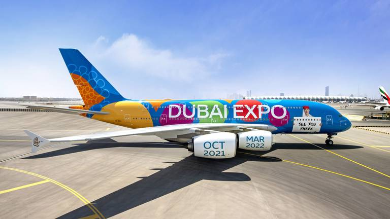 An image that illustrates this article Emirates airline's Expo 2020 A380 to perform low flypast over Dubai